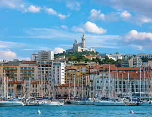 The old sea-port of Marseille and Notre Dame de la Garde, France
