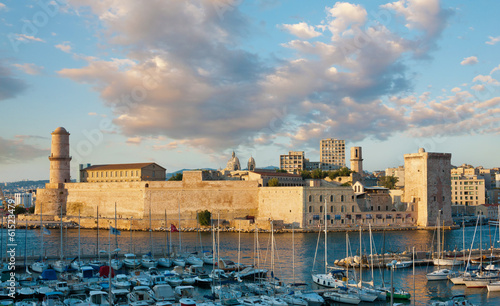 The 17 century fort Saint-Jean in Marseille at sunset, France