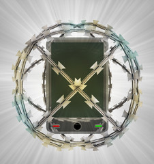 protected smart phone in barbed sphere fence