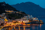 View of tthe Amalfi city at night, Italy