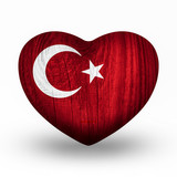 Flag On Wooden Heart - Turkey