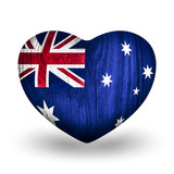 Flag On Wooden Heart - Australia