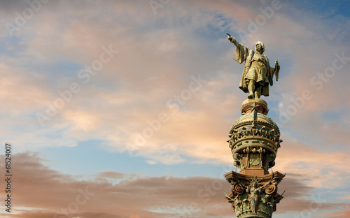 Tuinposter Standbeeld Monument of Christopher Columbus, Barcelona, Catalonia, Spain