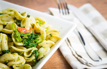 Orecchiette pasta with broccoli rabe and red pepper