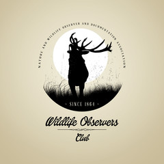 Wildlife Observers with Deer buck on fool moon badge