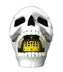 isolated human skull head with royal crown in jaws