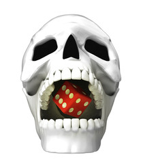 isolated human skull head with lucky dice in jaws