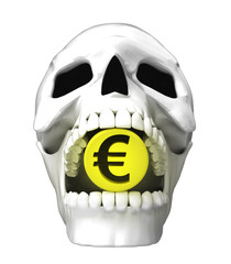 isolated human skull head with golden Euro coin in jaws