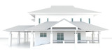 3D white house architecture exterior design in white background
