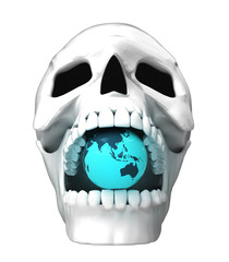 isolated human skull head with asia earth globe in jaws