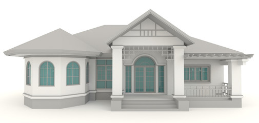 3D retro house architecture exterior design in white background