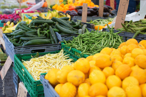 Fruits and vegetables on a market