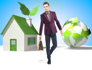 Eco style businessman with suitcase