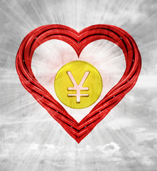 yuan golden coin in red shaped heart on sky background