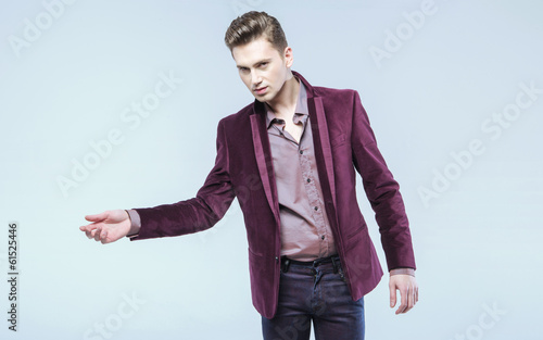 Hansome man wearing fashionable jacket