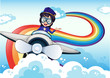 A female pilot driving the plane and a rainbow in the sky