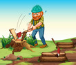 A lumberjack chopping woods