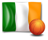 Ireland's flag beside the basketball ball