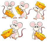 A group of mice carrying slices of cheese