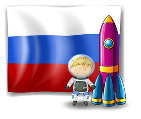 A Russian flag at the back of the rocket and the explorer