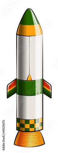 A green and yellow colored rocket