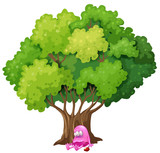 A poisoned pink monster under the tree