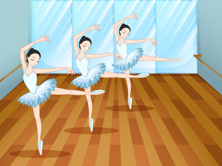 Three ballet dancers inside the studio