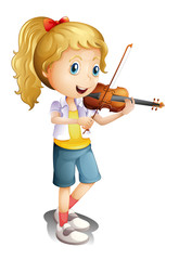 A girl playing with her violin