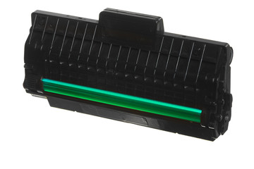 Black green cartridge isolated on white. Technology equipment.
