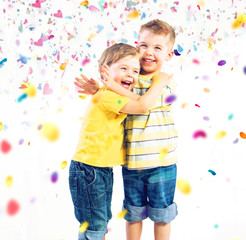 Two cute brothers enjoying colorful world
