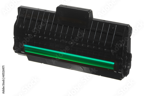Black green cartridge isolated on white. Technology equipment.