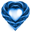 modern blue glassy tube shaped heart isolated on white