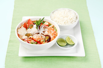 Tom Yum Soup, Thai Food with rice