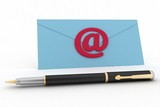 Envelope, pen and showing mail or communication concept
