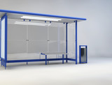 3d illustration of bus stop