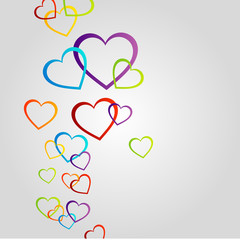 Background with colorful hearts