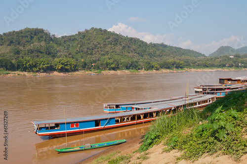 Boats on the Mekong river. Luang Prabang. Laos.