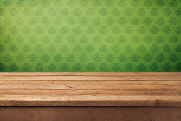 St.Patrick's day background with empty wooden table