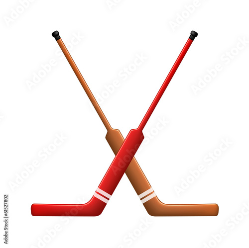 Two crossed hockey sticks for goalies