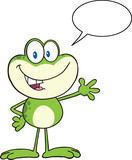 Cute Frog Character Waving For Greeting With Speech Bubble