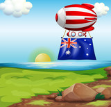 A floating balloon with the flag of Australia