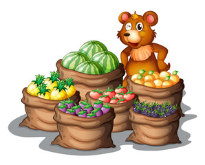 A bear with the newly harvested fruits