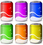 Fototapety Six colorful soda cans
