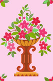 Vase pink flowers seamless (wallpaper)