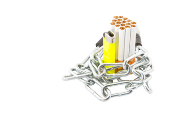 Concept image of cigarette addiction locked away