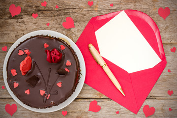 Chocolate cake and love  letter