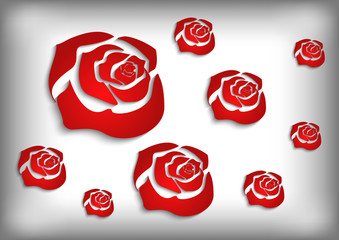 Red roses on grey background