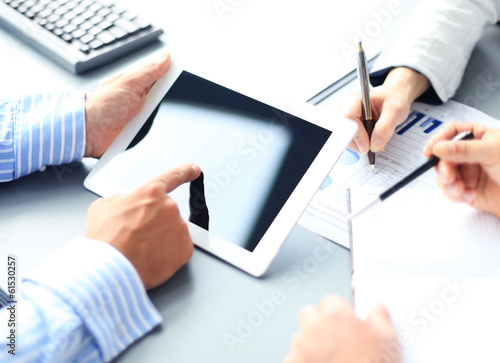 Business adviser analyzing financial figures