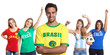 Attractive man from Brazil with four female sports fans