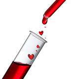 Blood or love potion drops in heat shape